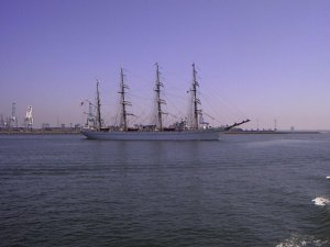 A Japanese tall ship in Los Angeles_  harbor