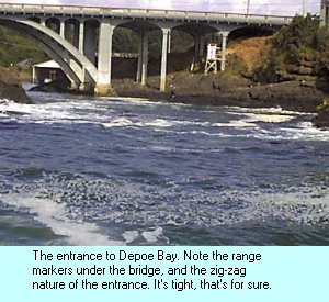 The 50' wide entrance to Depoe Bay.